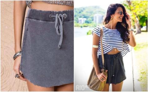 look moletom shorts saia um palpite