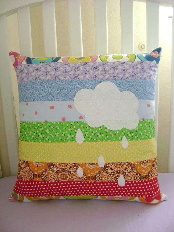 almofadas patchwork colorida nuvem